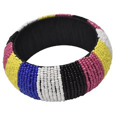 Colorful Blue, White, Pink, Black & Yellow Heavy Beaded Handcrafted Bangle Bracelet
