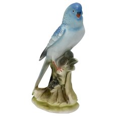 "Signed ""JAPAN"" Painted Porcelain Blue Parakeet Bird Figurine/Statue"