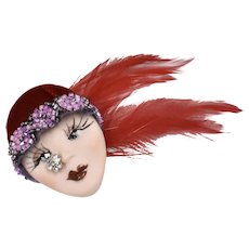 Large Art Deco Style Flapper Lady Ceramic Face w/ Beaded Velvet & Feather Cloche Hat Rhinestone ~ Butterfly on Nose Brooch/Pin