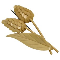 Made in Czechoslovakia Stylized Berry or Flower Tan Celluloid Early Plastic Pin/Brooch