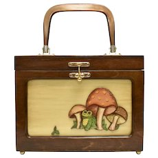 Circa 1972 Interchangeable Art w/ Frog and Mushrooms, Anton Pieck Painter Print & American Eagle Embroidery Artisan Made Wood Box Purse Handbag ~ Signed Dot Lewallen