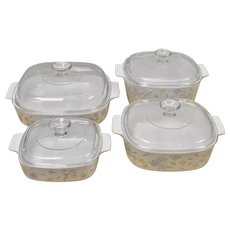 Corning Ware 8-Pc Set 'Pastel Bouquet' Flower Design White Casserole or Baking Dishes w/ Original Pyrex Glass Lids