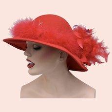 Georgi Signed Red Wool Felt & Feathers Ladies Hat