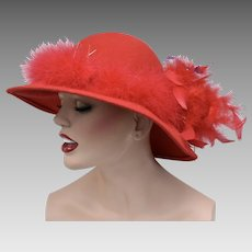 Georgi Signed Red Wool Felt & Feathers Ladies Hat