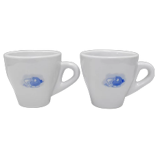 Pair of White Ceramic Demi-Tasse Cups w/ Blue Cartoon Elephant