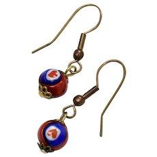 Handmade Heart Design Millefiori Glass Bead Dangle Earrings