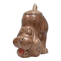 """McCoy """"Thinking Dog"""" Hound Dog Ceramic Figural Cookie Jar w/ Lid"""