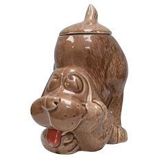 "McCoy ""Thinking Dog"" Hound Dog Ceramic Figural Cookie Jar w/ Lid"