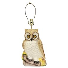Circa 1982 Creative Decor Chalkware Figural Perched Owl Table Lamp