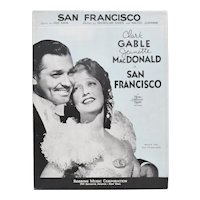 "Circa 1936 ""San Francisco"" MGM Picture Sheet Music Clark Gable & Jeanette MacDonald"