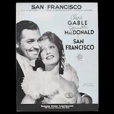 "Circa 1936 ""San Francisco"" MGM Picture Sheet Music Clark Gable & Jeanette MacDonald"
