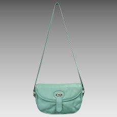 Etienne Aigner Supple Turquoise Green Leather Messenger Purse/Handbag