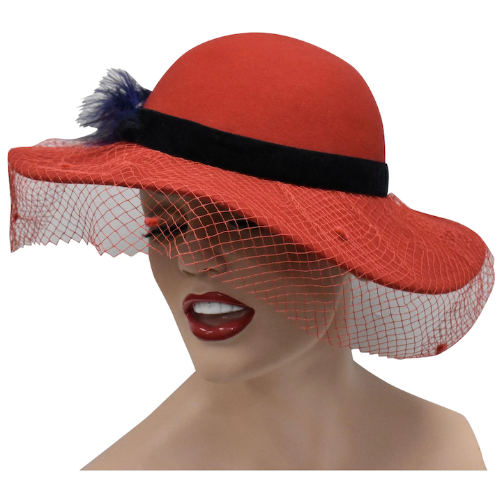 79dec05d0004a Genuine Red Wool w  Deep Blue Feather   Decorative Netting Wide Brim    Kitsch   Couture