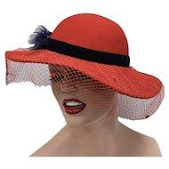 Genuine Red Wool w/ Deep Blue Feather & Decorative Netting Wide Brim Ladies Hat