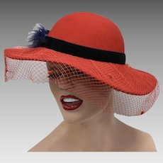 Genuine Red Wool w/ Deep Blue Feather & Decorative Netting Wide Brim Ladies Hat