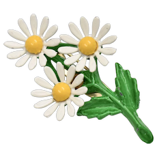 Small White & Yellow Enamel Daisy Flower Trio Pin/Brooch