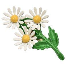 Small White & Yellow Enamel Daisy Flower Trio Pin/Brooch