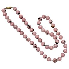 """8mm Pink/Black Rhodonite Gemstone 18"""" Long Hand-Knotted Bead Necklace"""