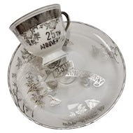"Norcrest ""25th Anniversary"" Silver Overlay Footed Serving Tray/Cake Plate & Porcelain Tea Cup"