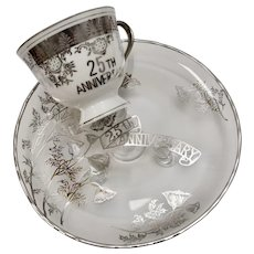 """Norcrest """"25th Anniversary"""" Silver Overlay Footed Serving Tray/Cake Plate & Porcelain Tea Cup"""