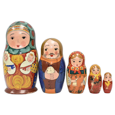Hand-painted Babushka & Family Nesting/Stacking Dolls