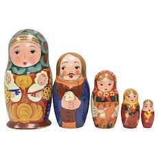 Hand-painted Babushka & Family Nesting/Stacking Dolls
