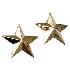 Large 3D Goldtone Star Clip Earrings