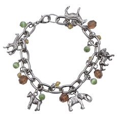 Fun Jungle Safari Animal Charm & Bead Dangle Silvertone Link Bracelet