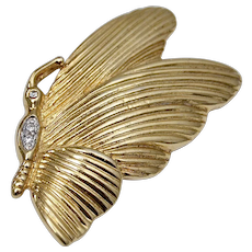 Signed Roman Goldtone & Rhinestone Butterfly Pin/Brooch