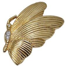 Signed Roman Goldtone & Rhinestone Butterfly Pin/Brooch