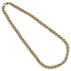 "14K Gold Italy Signed Decorative 18"" Coiled Link Necklace"