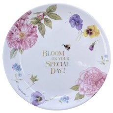 """Hallmark Nature's Sketchbook """"Bloom On Your Special Day"""" Special Occasion Cake Plate by Marjolein Bastin"""