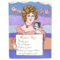 "Circa 1960s ""Maiden's Prayer"" Blonde Lady Alcoholic Drink Recipe Art Print by Unicorn Creations, Inc. Oversized Postcard"