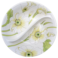 Metlox PoppyTrail Vernonware Matilija White Poppy Flower Ceramic Divided Dish Serving Bowl