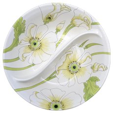 Metlox PoppyTrail Vernonware Matilija White Poppy Flower Ceramic Divided Dish Serving Bowl