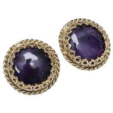 Large Polished Purple Stone w/ Decorative Heart Border Heavy Clip Earrings