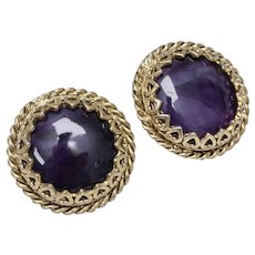 Large Polished Purple Stone w/ Decorative Heart Border Heavy Clip Earrings