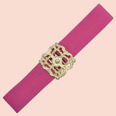 Fuchsia Pink Stretch Belt w/ Goldtone Metal Belt Buckle