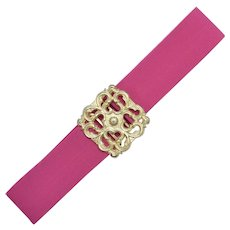 Fuchsia Pink Stretch Belt w/ Goldtone Metal Belt Buckle