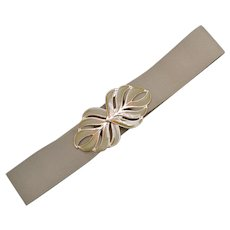 "Large 5"" Beige / Tan Enamel Palm Leaf Belt Buckle w/ Original Wide Stretch Fabric Belt"