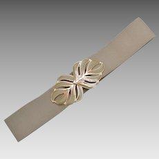 "Large 5"" Beige / Tan Enamel Palm Leaf Belt Buckle w/ Original Wide Stretch Fabric Belt"