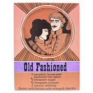 "Circa 1960s ""Old Fashioned"" Alcoholic Drink Recipe Art Print by Unicorn Creations, Inc. Oversized Postcard"