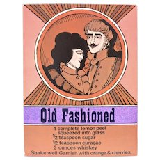 """Circa 1960s """"Old Fashioned"""" Alcoholic Drink Recipe Art Print by Unicorn Creations, Inc. Oversized Postcard"""