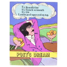 "Circa 1960s ""Poet's Dream"" Alcoholic Drink Recipe Art Print by Unicorn Creations, Inc. Oversized Postcard"