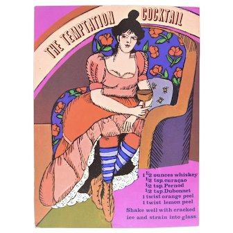 """Circa 1960s """"The Temptation Cocktail"""" Relaxing Lady Alcoholic Drink Recipe Art Print by Unicorn Creations, Inc. Oversized Postcard"""