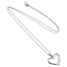 Sterling Silver Necklace w/ CZ Heart Pendant