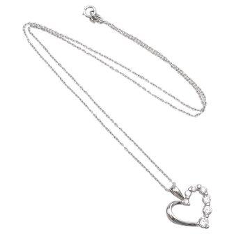 Sterling Silver Necklace w/ CZ Heart Pendant