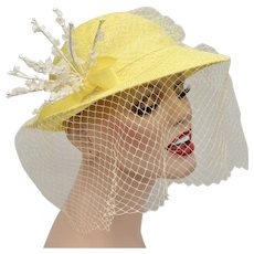 Canary Yellow Woven Ladies Hat w/ White Flower Embellishment & Netting