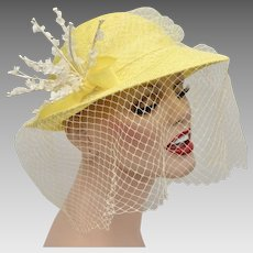 Canary Yellow Woven Ladies Netted Hat w  White Flower Embellishment. Kitsch    Couture 6b779251f783