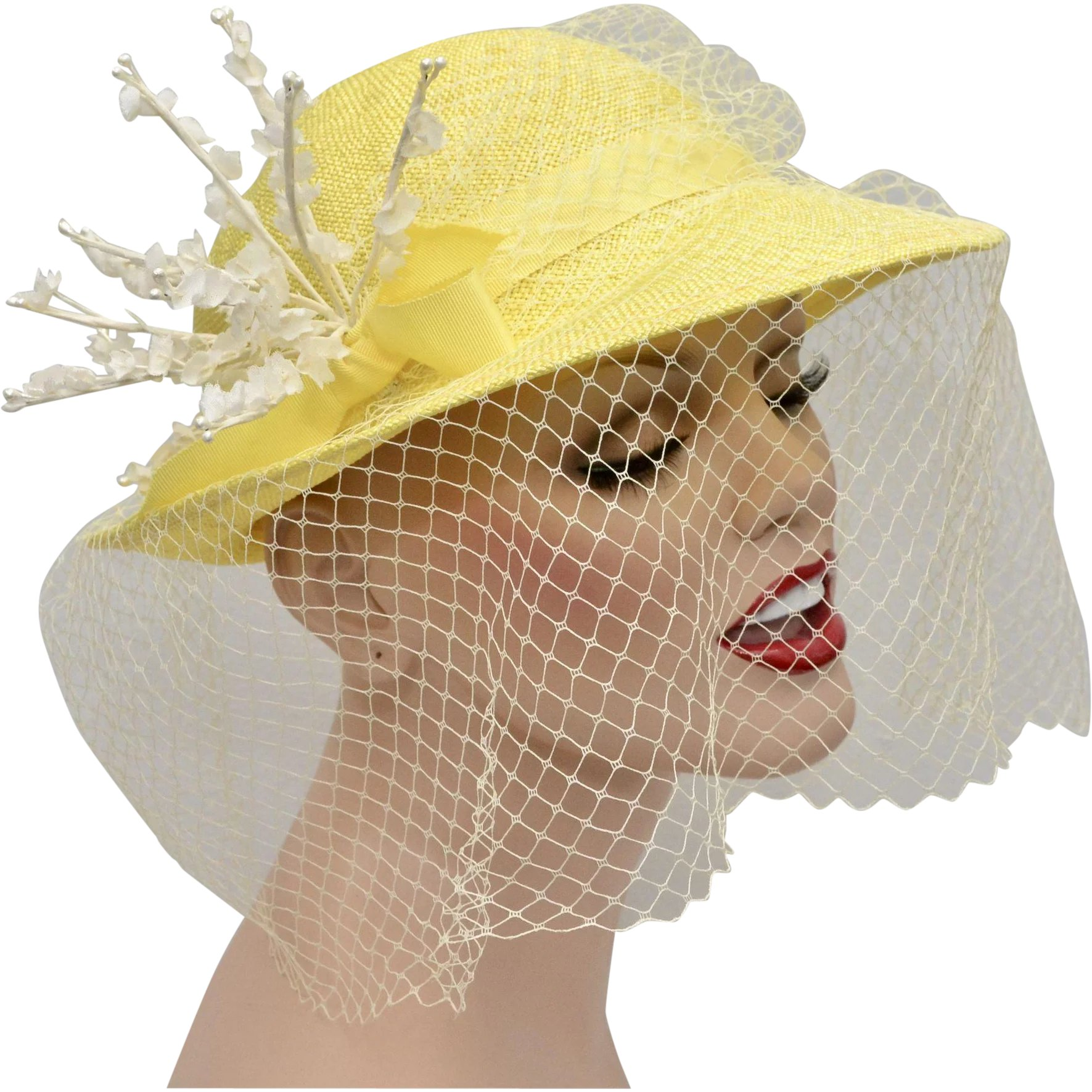 4f00fd1db4d Canary Yellow Woven Ladies Netted Hat w/ White Flower Embellishment :  Kitsch & Couture | Ruby Lane
